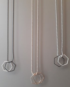 Lange ballchainketting hexagon